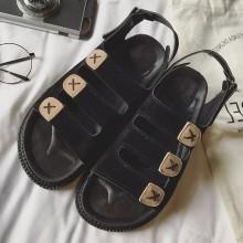 Women Roman Sandals Thick Bottom Low Heel Retro Beach Fashion Plus Size Sandals