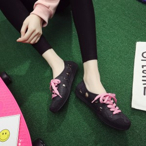 Women Waterproof Running Shoes Lace Up Non Slip Casual Plus Size Plastic Shoes