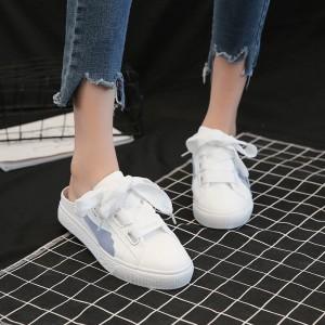 Women Cross Strap Ribbon Lace Half Slipper Outdoor Fashion Plus Size Sneakers