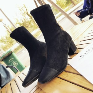 Women Suede High Tube Boots Thick Heels High Cut Autumn Boots Chic Fashion Shoes