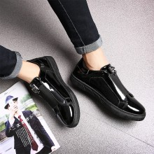Men's Metallic Casual Shoes Social Daily Wear Fashion Male Flat Heel Bean Shoes