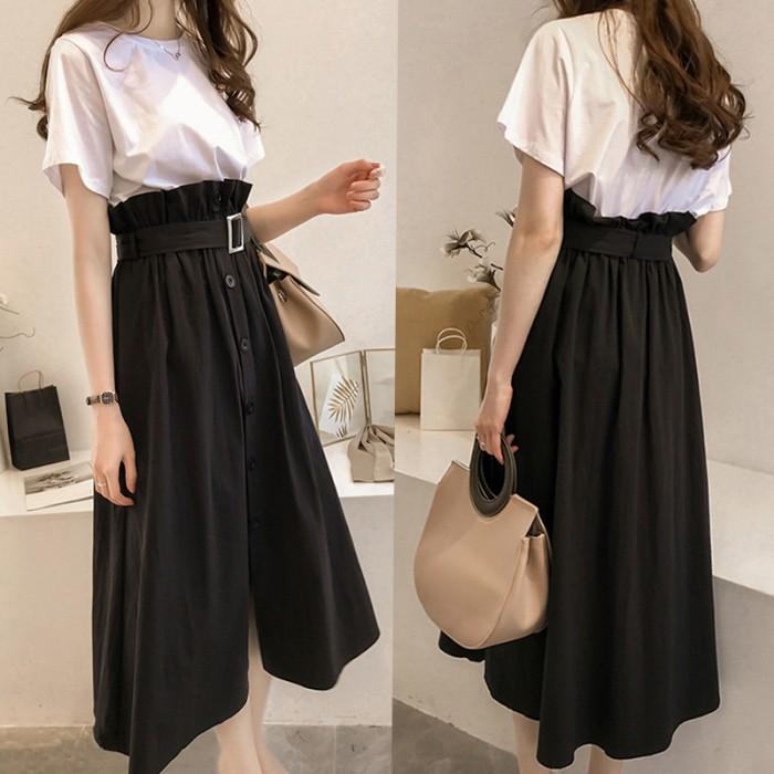 f4974a4876c Women Basic Loose Shirt High Waist Long Skirt Classy Fashion Plus ...