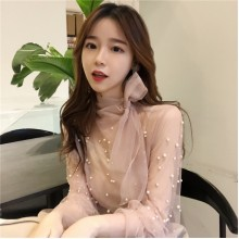 Women Lace Ruffled Beaded Long Sleeve Blouse High Class Fashion Ladies Tops