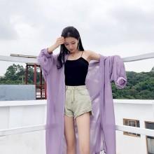 Women Mesh Super Loose Long Cardigan Bat Sleeve Summer Fashion Sun Screen Cloth