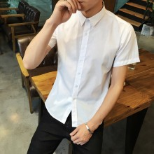 Men's Basic Color Polo Shirt Short Sleeve Slim Fit Business Trend Plus Size Tops