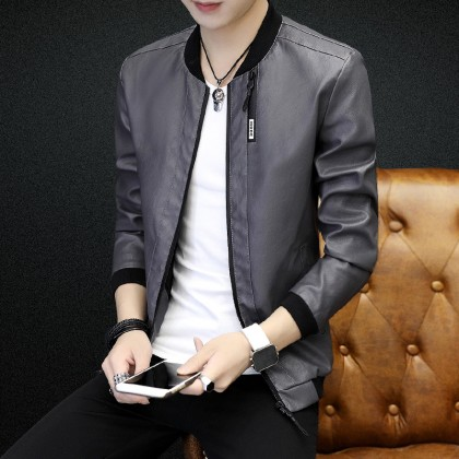 Men's Leather Baseball Zippered Long Sleeve Spring Fashion Plus Size Jacket