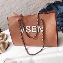Women Classy Fashion Big Shoulder Bag Single Double Chain Handle Ladies Chic Bag