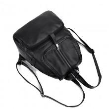 Women Black Soft Leather Backpack Zippered Pocket Large Capacity Fashion Bag