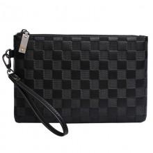 Men's Black Casual Clutch Bag Business Zippered Envelope Fashion Hand Bag