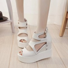 Women Super High Heels Wedge Sandals Muffin Bottom Comfort Style Platform Shoes