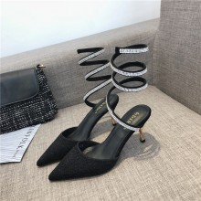 Women Snake Shape Winding Pointed Stiletto Classy Rhinestones Sexy High Heels