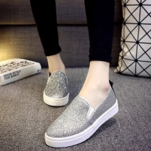 Women Shiny Casual Sneaker Shoes Thick Flat Bottom Plus Size Lazy Peas Shoes