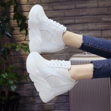 Women Super High Heels Sports Lace Up Shoes Thick Bottom Wedge Fashion Shoes