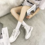 Women High Cut Transparent Hip Hop Boots Lace Up Low Heel Martin Fashion Boots