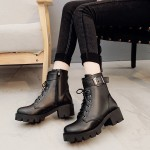 Women Black High Cut Military Boots Retro High Heels Thick Winter Fashion Boots