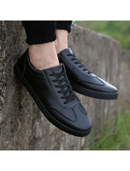 Men's Solid Color Basic Casual Lace Up Shoes Male Must Have Wild Fashion Shoes