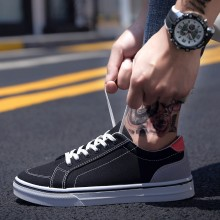 Men's Casual Lace Up Board Shoes Student Daily Wear Fashion Male Canvas Shoes
