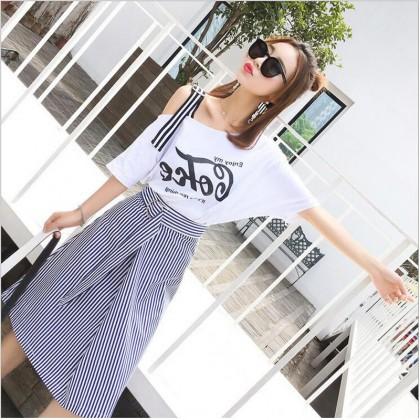 Women Trendy Blouse Stripes Skirt Dress Set Ladies Fashion Plus Size Dress