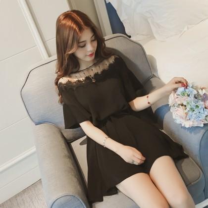 Women Silky Yarn Dress Loose Waist A Skirt Ladies Fashion Plus Size Dress