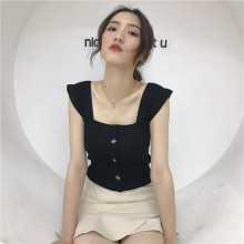 Women Knit Vest Blouse Square Collar Slim Fit Korean Chic Fashion Ladies Tops