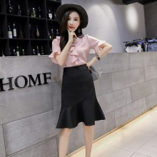 Women Fish Tail Ruffled Skirt High Waist Slim Fit Plus Size Ladies Fashion Skirt