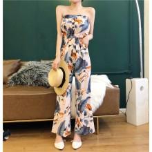 Women Floral Jumpsuit Tube Top Elastic Waist Loose Pants Ladies Fashion Trend