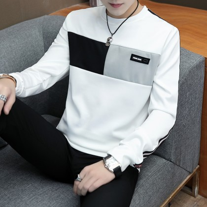 Men's Color Block Simple Long Sleeve Round Neck Autumn Fashion Plus Size Sweater