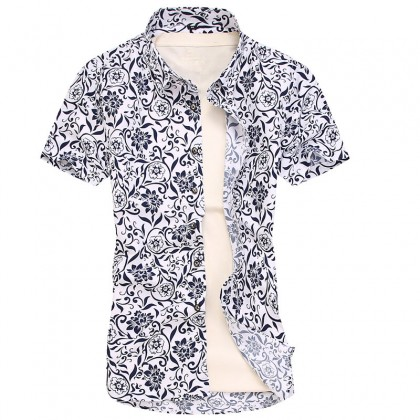 Men's Floral Trend Print Polo Shirt Short Sleeve Slim Fit Plus Size Polo T Shirt