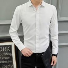 Men's Solid Color Polo Collared Long Sleeve Business Fashion Plus Size Shirt