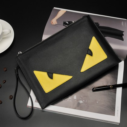 Men's Mad Eye Clutch Hand Bag Zippered Envelope Style Male Fashion Purse Bag