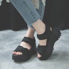 Women Thick Sole Muffin Bottom Sandals Open Toe Velcro Style High Heel Sandals