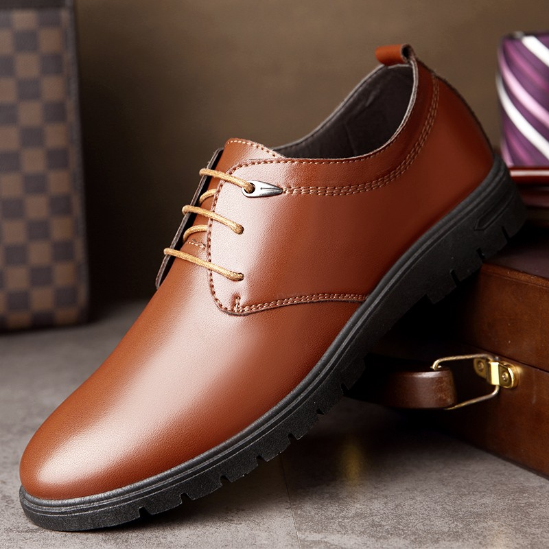 Men's Casual Leather Work Shoes Lace Up