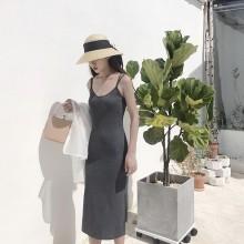 Women Sexy Back Halter Dress Side Slit Slim Fit Chic Retro Fashion Ladies Dress