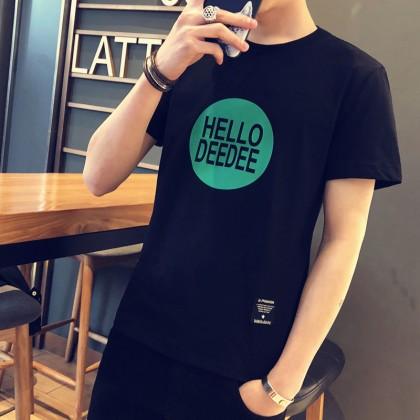 Men's Basic Statement Shirt Short Sleeve Round Neck Male Fashion Plus Size Tees