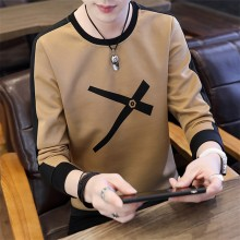 Men's Sweater Long Sleeve Round Neck Slim Fit Korean Fashion Plus Size Tees