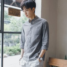 Men's Striped Quarter Sleeve Standing Collar Korean Fashion Casual Shirt