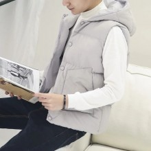 Men's Winter Vest Warmer Jacket Sleeveless Hooded Handsome Male Fashion Coat