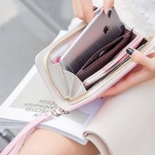Women Long Zippered Wallet Card Compartment Mini Clutch Mobile Bag Ladies Purse