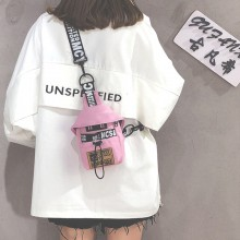 Women Small Canvas Cross Body Bag Statement Fashion Street Trend Chest Sling Bag
