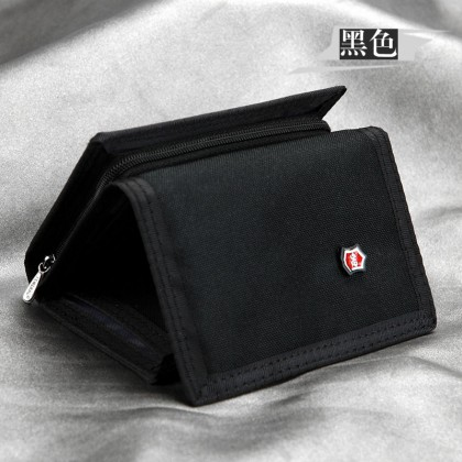 Men's Bills Wallet  Zippered Coin Purse In One Card Compartment Folding Wallet