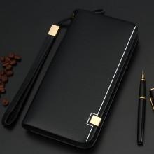 Men's Long Zippered Wallet Business Fashion Mini Clutch Bag Male Elegant Purse