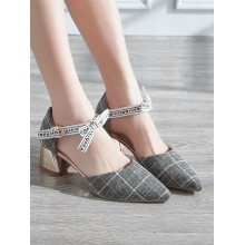 Women Baotou Pointed Sandals Cute Ribbon Buckle Square High Heels Chic Fashion