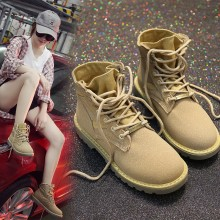 Women High Cut Ankle Flat Boots Lace Up Ladies Fashion Street Trend Boots