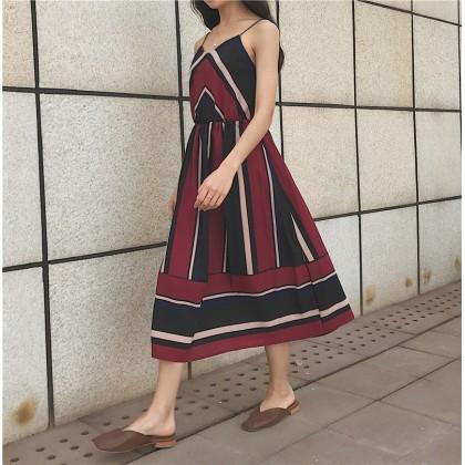 Women V Neck Strap Sleeveless Dress High Waist Flowy Skirt Summer Chic Dress