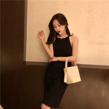 Women Hanging Neck Retro Chic Dress Slim Fit Mid Skirt Ladies Fashion Dress