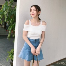 Women Cold Shoulder Knit Blouse Cross Front Strap Chic Fashion Ladies Tops