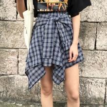 Women Irregular Lattice Retro Skirt Elastic High Waist Fashionable Chic Bottoms