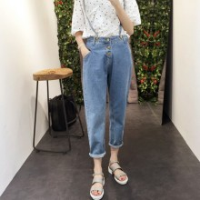 Women High Waist Denim Trousers Shoulder Strap Style Loose Plus Size Bottoms