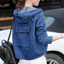 Women Denim Hooded Jacket Loose Zippered Long Sleeve Pockets Plus Size Jacket