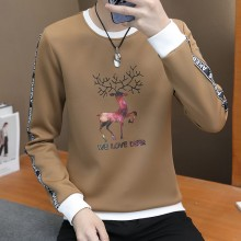 Men's Reindeer Long Sleeve Sweater Round Neck Male Fashion Trend Plus Size Tees